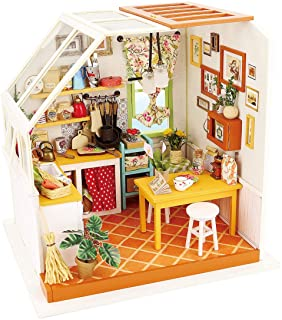 Rolife Dollhouse DIY Miniature Kit with Light-Wooden Mini House Set to Build-Handmade Playset with Accessories-Christmas B...
