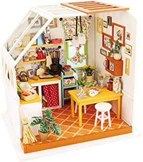 Rolife DIY Miniature Dollhouse Kit With Light-Wooden Mini House Set to Build- Kitchen Playset-Handmade Miniature House Kitchen with Accessories-Best Birthday Mothers Gift for Boy and Girl (05 Kitchen)
