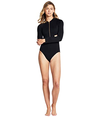 Seafolly Zip Front Long Sleeve One-Piece (Black) Women