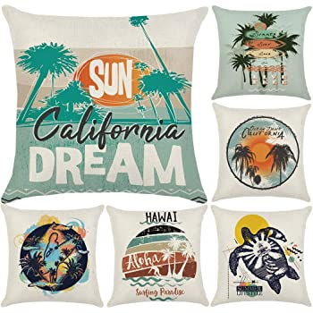 18 X 18 Inches Multicolor Hawaiian Beach Surfboards on Sand Exotic Summer Vacation Sport Vintage Style Decorative Square Accent Pillow Case Ambesonne Tiki Bar Decor Throw Pillow Cushion Cover