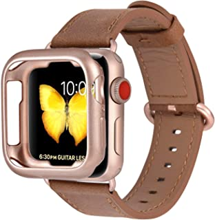 JFdragon Watch Bands with Case Compatible with Apple Watch 38mm 40mm 42mm 44mm Women Men Girls Boys Genuine Leather Strap for iWatch Series 5 4 3 2 1(Brown/Rose Gold, 38mm/40mm S/M)