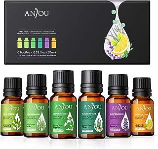 ANJOU Ätherische Öle Set Aromatherapie Duftöl ätherisches Öl 6x 10ml für Aroma diffuser 100% Pur Geschenkset Aromatherapie-Öl-Kit Lavendel, Teebaum, Eukalyptus, Zitronengras, Orange, Pfefferminzeminze