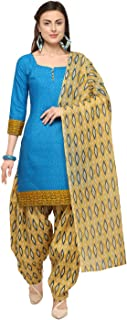 Rajnandini Sky Blue Cotton Salwar Suit For Women (Ready To Wear)(One Size)