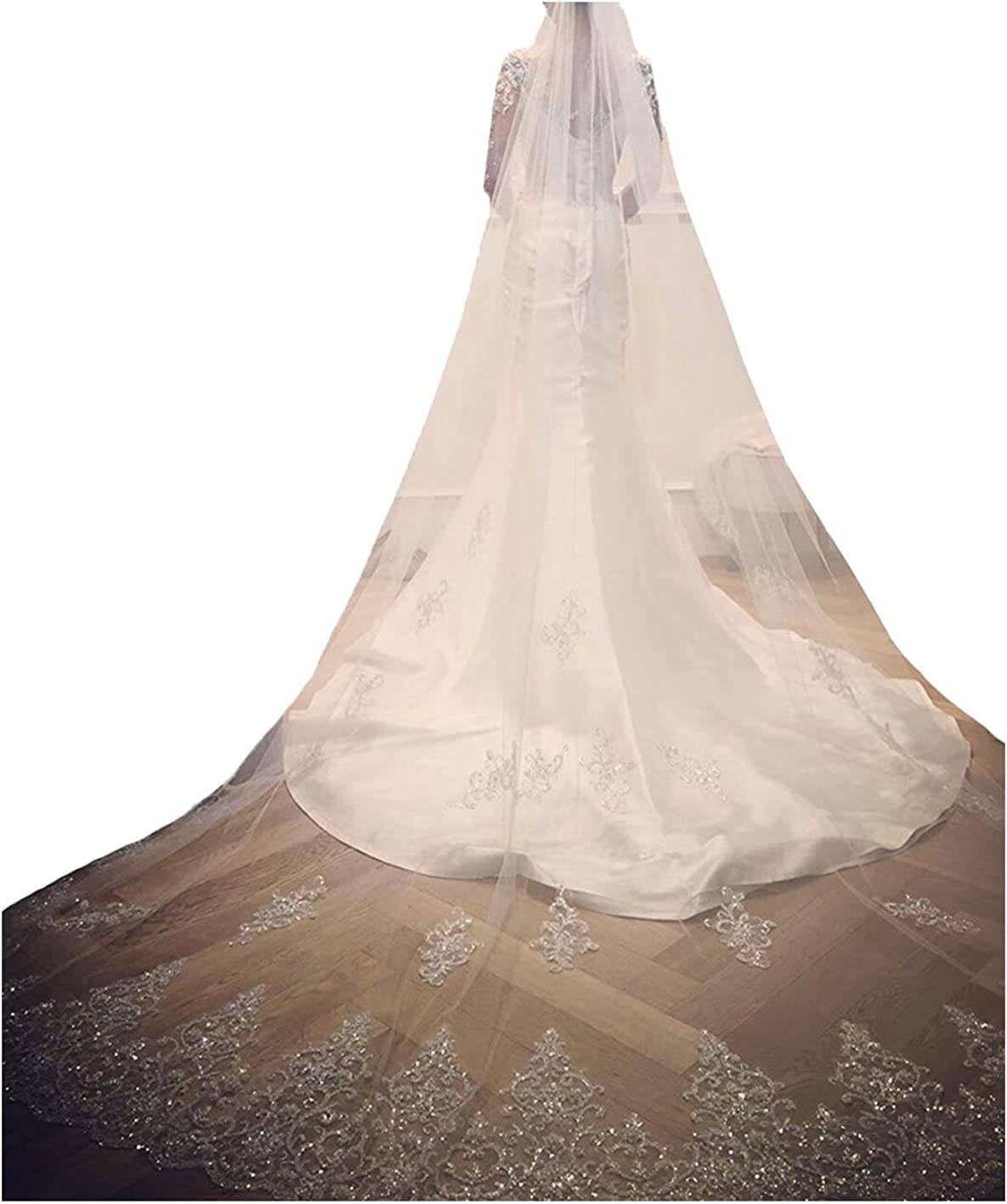 yeoyaw Women Wedding Veils with Shinning Beads Sequins White Ivory Cathedral Bridal Veils Comb