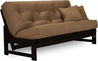 Arden Armless Dark Espresso (Near Black) Wood Futon Frame Full or Queen Size - Solid Hardwood Sofa Bed Frame Construction, Space Saving Design Ideal for RV, Small Rooms, and Dorms