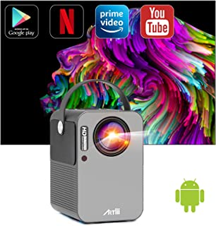 Beamer Smart Android, Artlii Play Pro WiFi Bluetooth Projector, Mini Beamer 1080p Full HD Ondersteund, Stereo Sound, 4D±4...