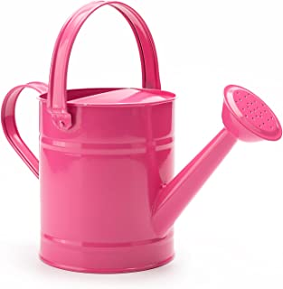 1.5 Letre Multi-color Metal Watering Can,Kids Children Garden Watering Bucket with Anti-rust Powder Coating Treatment and Beautiful Pink Color