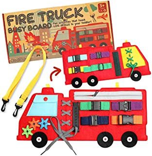 Busy Board, Firetruck Preschool Educational Early Learning Toy for Toddler, Basic Life Skills and Fine Motor Montessori Ac...