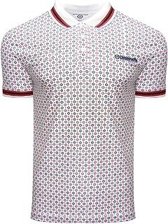 Lambretta Mens Geometric AOP Short Sleeve Cotton Polo Shirt Top - White - 4XL