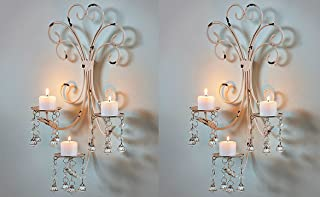 Set of 2 Wall Chandelier Candle Holder Sconce Shabby Chic Elegant Scrollwork Decorative Metal Vintage Style Decorative Home Accent Decoration