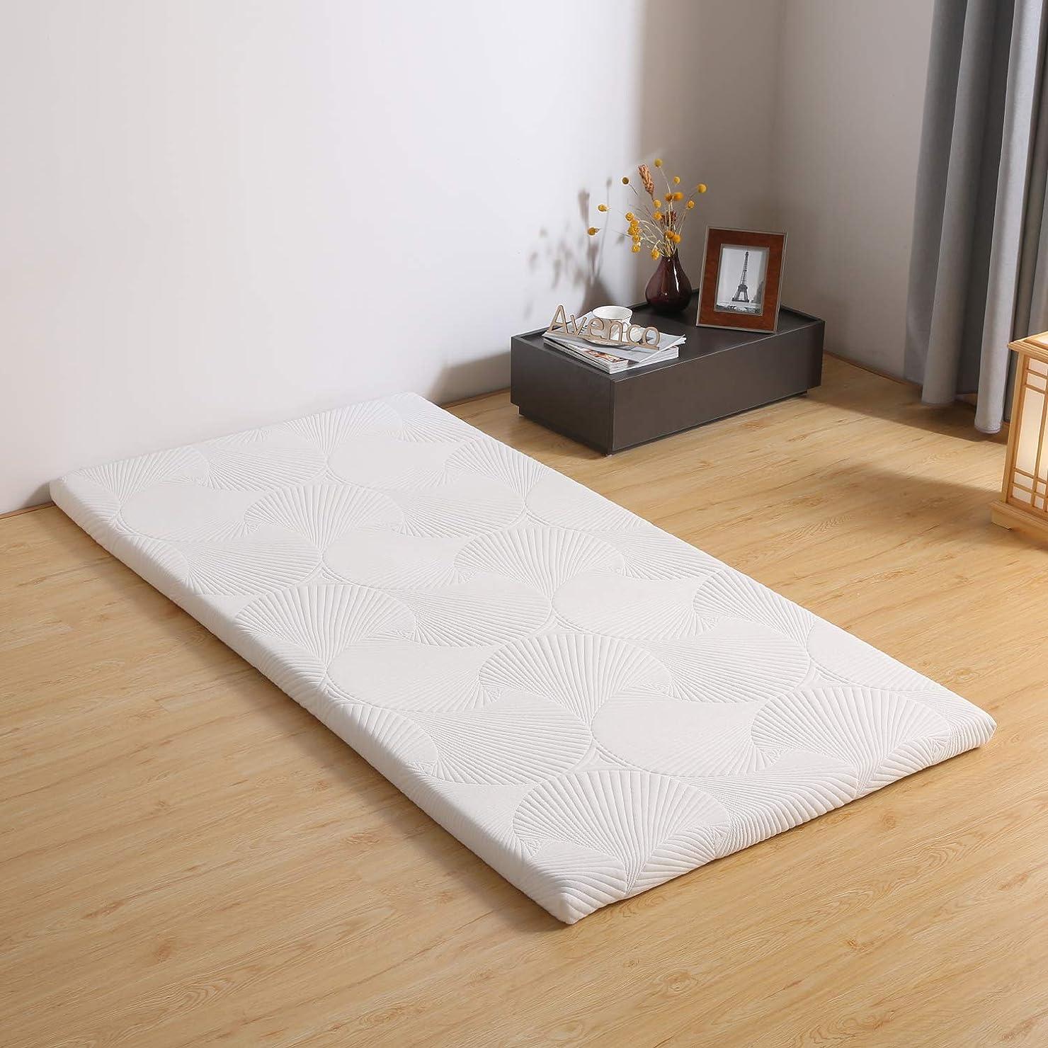 剥ぎ取る一般化するパノラマAvenco マットレス マットレスシングル 白 100x200x3cm 寝具 敷布団 腰痛改善 収納袋付き カバー洗える 高反発マットレス
