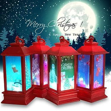 Linterna de Navidad – Faro de Navidad para la noche de Navidad, globo de nieve, linterna de agua, linterna de agua con brillo LED, decoración del hogar, regalo de fiesta