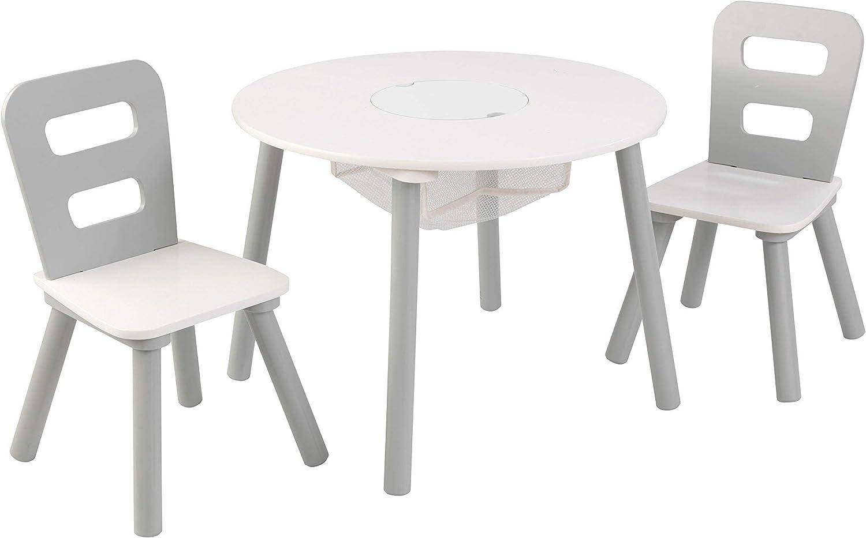 KidKraft 27027 Runder Tisch mit Aufbewahrungsfach und 2 Stühlen, Primärfarben Grau & Weiß