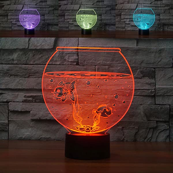3D Lifelike Fish Tank Night Light USB Touch Switch Decor Table Desk Optical Illusion Lamps 7 Color Changing Lights LED Table Lamp Xmas Home Love Brithday Children Kids Decor Toy Gift