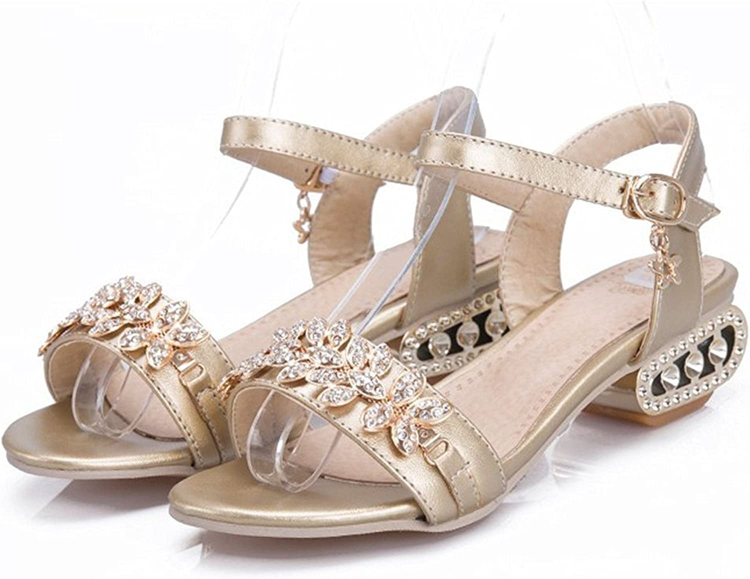 Velardeeee Sandals Women's shoes Glittering Flower Rhinestone Low Heel Sandals