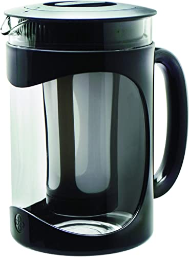 Primula Burke Cold Brew Coffee Maker 1500 ml, temperature safe borosilicate glass carafe, durable pot for iced coffee, iced tea and fruit infused water (colour: clear/black) product image