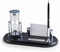 DESK ACCESSORIES - EXECUTIVE DESK ORGANIZER WITH SAND TIMER - PEN STAND - BUSINESS CARD HOLDER