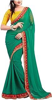 فستان الساري الهندي للنساء من فيهان إمبكس للفساتين الهندية للنساء مصمم بوليوود فستان ساري لحفلات الزفاف والحفلات الخضراء