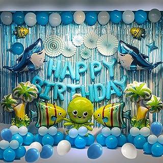 Shark--Birthday Party Backdrop Decorations Marine Animals Ocean Animals Themed Balloon Birthday Party Supplies Fish Balloo...