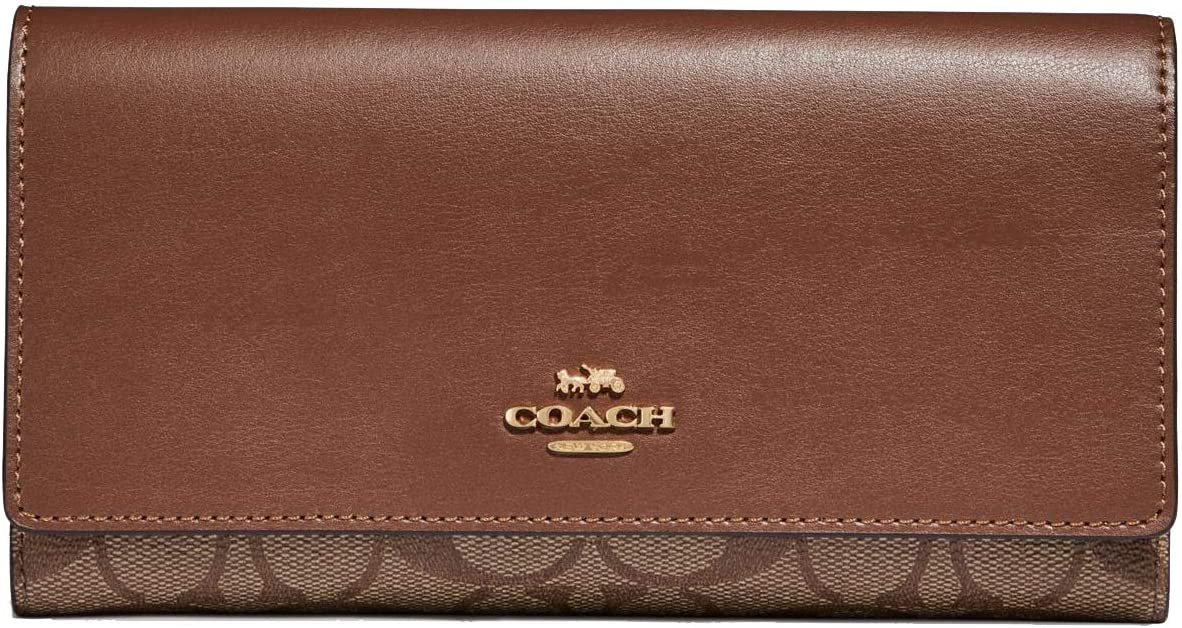 Coach Signature Leather Trifold ID Brown - Wallet Rapid rise Very popular #F88024 Medi