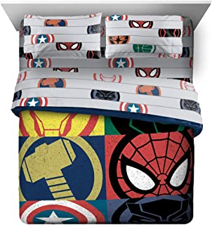 Jay Franco Marvel Emblems 7 Piece Queen Bed Set - Includes Comforter & Sheet Set - Bedding Features The Avengers - Super Soft Fade Resistant Microfiber (Official Marvel Product)