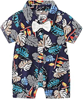 WUAI Newborn Baby Boys Short Sleeve Rompers Cute Hawaii Onesies Button-Down Gentleman Jumpsuits Outfits