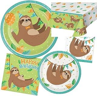 Creative Converting Sloth Happy Birthday Party Bundle, 16 Guests
