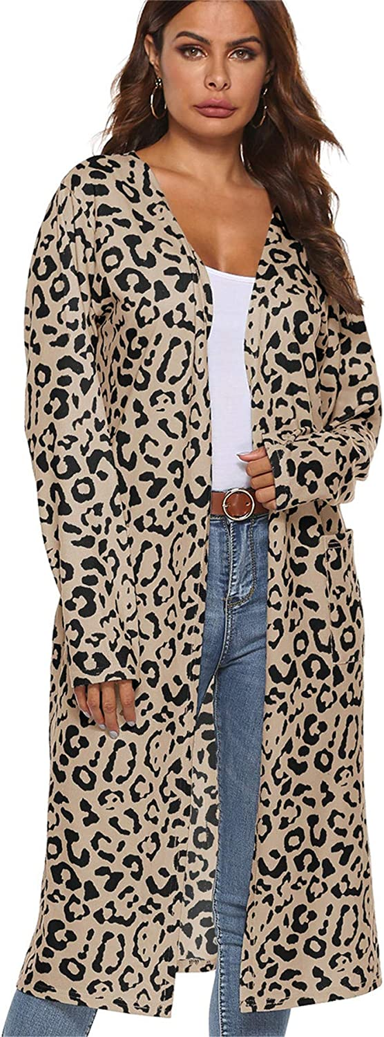 Andongnywell Women Leopard Print Long-Sleeved Sweater Casual All-Match Cardigan Jacket Open Front Sweater Cardigans