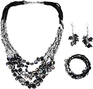 "Shop LC Handmade Coastal Stainless Steel Earrings Wrap Bracelet Multi Strand Layered Necklace 22"" Beaded Fashion Costume V..."