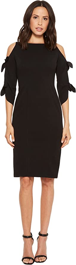 Donna Morgan Crepe Midi Long Sleeve with Tie Detail
