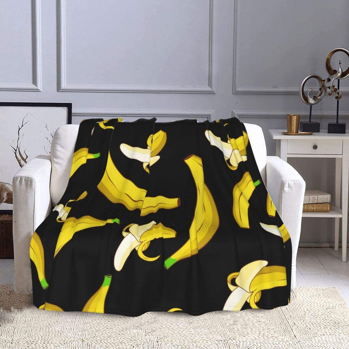 D-WOLVES Saba Banana Throw Blanket Tulsa Mall We OFFer at cheap prices Sofa for and Blankets Couch