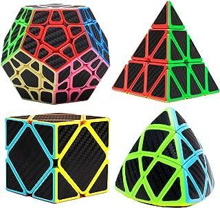 Speed Cube Puzzle Set, Carbon Fiber Sticker Magic Puzzle Smooth Cube Bundle Twist Smart Easy Pyramid Skewb Megaminx Cube Puzzle Toys by Nowpos