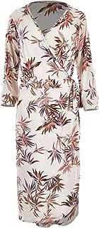 Belle Bird Womens Calf Length Dresses Belle Crepe Wrap Dress Leaf - Dresses