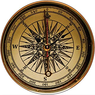 Moonluna Steampunk Nostalgic Old Brass Compass Wooden Wall Clock for Living Room Bedroom Kitchen Home Office Decoration 12 Inches