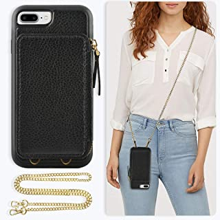 ZVE Case for Apple iPhone 8 Plus and iPhone 7 Plus, 5.5 inch, Leather Wallet Case with Crossbody Chain Credit Card Holder Slot Zipper Purse Case for Apple iPhone 8/7 Plus and 8 Plus 5.5 - Black