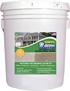 Vinyl Renu PRO 5 Gallon-Vinyl Siding & Multi Surface Restorer-Restores Color & Protects Faded Vinyl, Metal, Cement Board & Stucco Siding. 10 Year Warranty Included. Easy To Apply With No Mess.