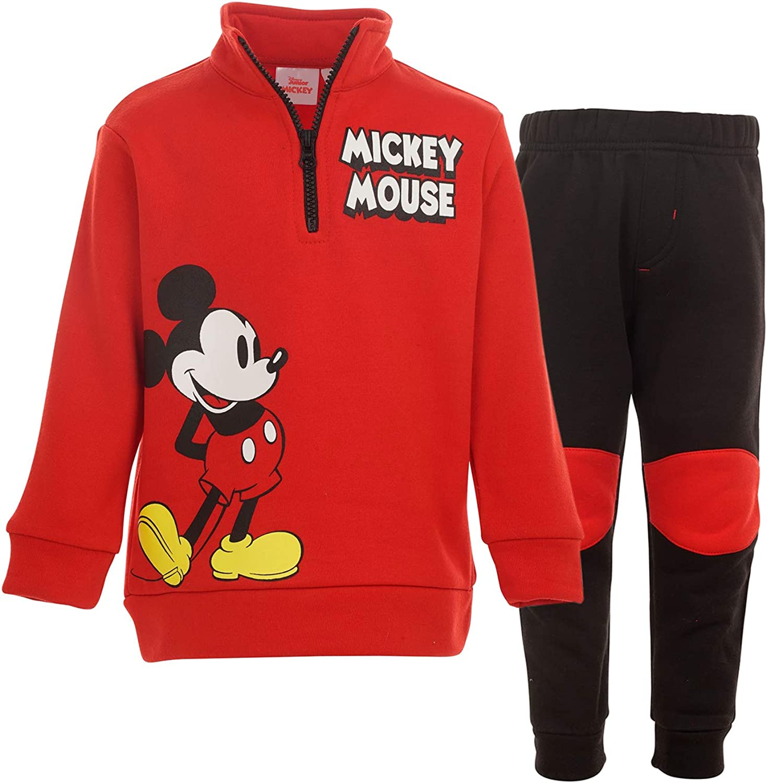 Disney Mickey Mouse Fleece Half-Zip Sweater Jacket & Jogger Pants Set