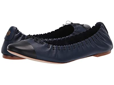 Tory Burch Simone Ballet Flat (Royal Navy/Perfect Black) Women