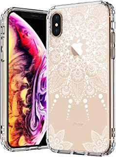 MOSNOVO Case for iPhone Xs/iPhone X, White Henna Mandala Lace Floral Clear Design Printed Transparent Plastic Back Case with TPU Bumper Protective Case Cover for iPhone X/iPhone Xs