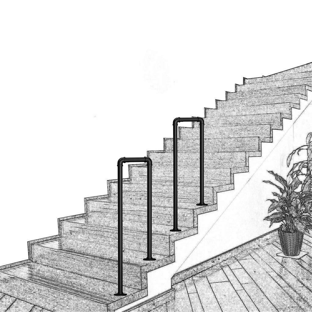 KDJJH 1 o 2 Pasos Barandas Escalera, en Forma de U Pasamanos Barandilla Tubo de Industrial Pasamanos Escalera Pasamanos para Escaleras Escaleras, Parapetos,Black_85cm(2.8ft): Amazon.es: Hogar