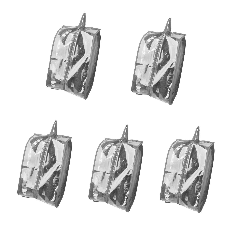 KinHwaポータブルトラベルシューズバッグ、5枚入りセット、防水ライトグレー5パック