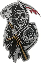 Sons of Anarchy Grim Reaper Motorcycle Biker Style Large Embroidered Iron-On/Saw-On Patch Applique for Clothing MC Vest Jackets Backpacks 12.6 x 8.3 inch