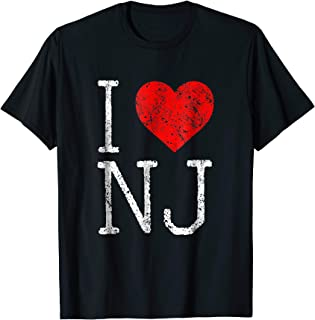 I Love New Jersey T Shirt Hometown Garden State Vintage Tee