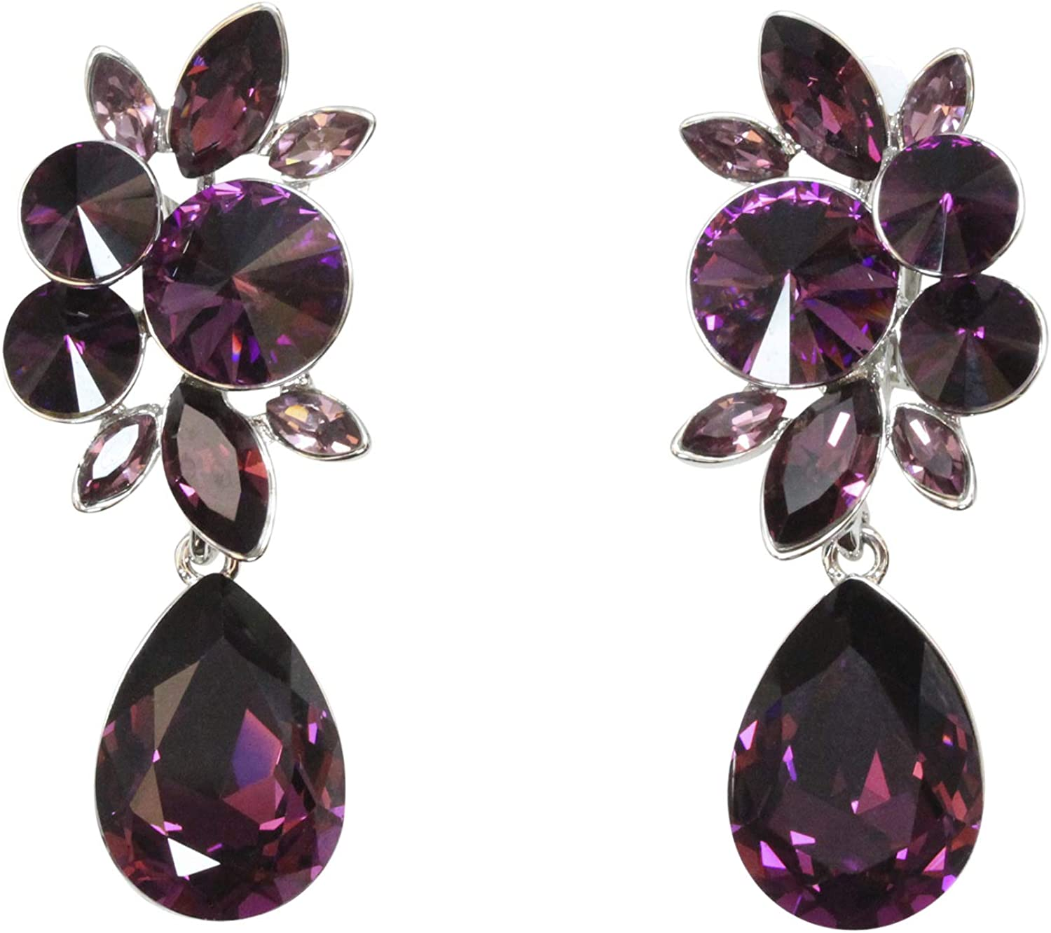 Faship Gorgeous Rhinestone Crystal Dangling Floral Clip On Earrings For Women