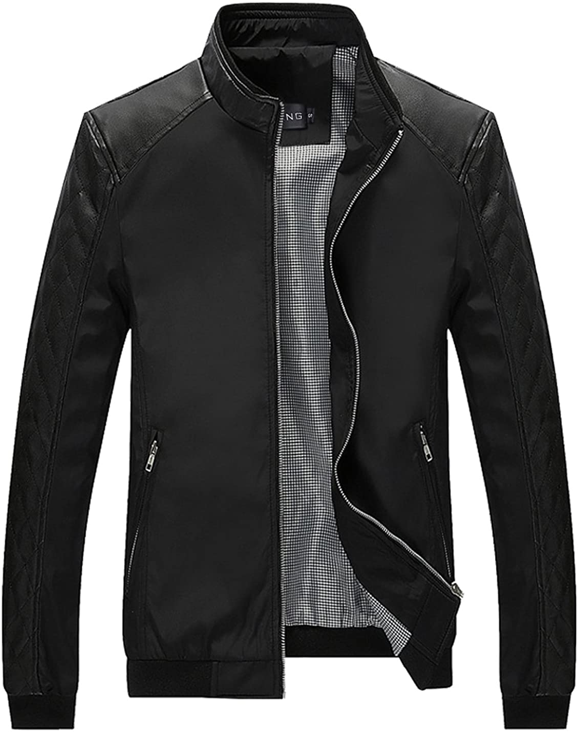 Tanming Men's Casual Slim Fit Lightweight Zip Up Softshell Bomber Jacket
