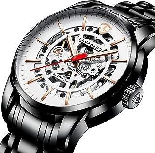 腕時計、機械式 メンズ腕時計 スケルトン ファッション ス テンレススチールウォッチ 高級 防水 自動 自動巻き ダイヤル 時計 ブラック ホワイト