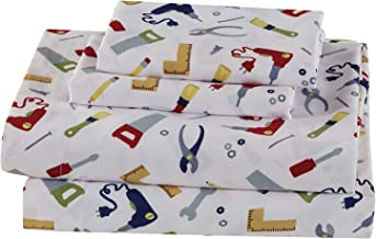 Fancy Linen 3pc Twin Sheet Set Construction Tools White Red Blue Green Grey New