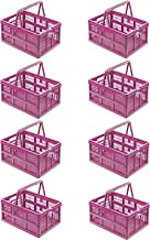 8 x stabilne, profesjonalne składane pudełko 18,5 l – 38,5 x 28,5 x 21 cm – skrzynka na zakupy składana z uchwytami, skrzy...