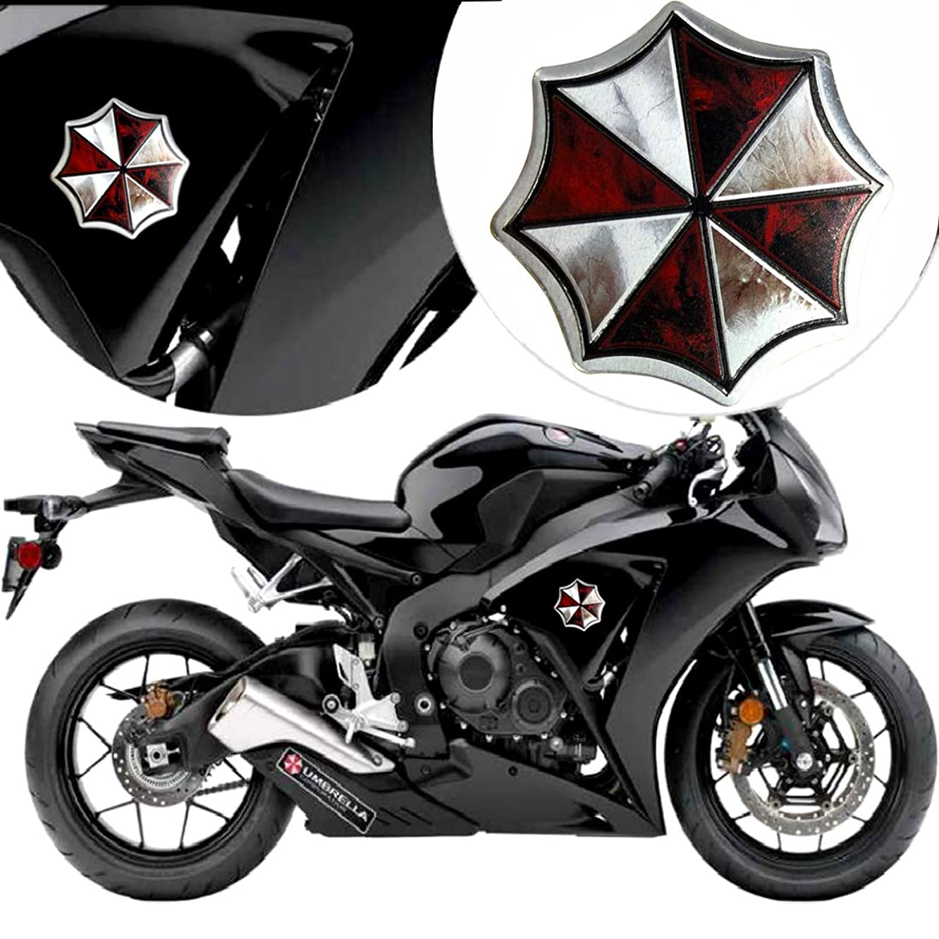 YSpring Resident Evil Logo Umbrella Corporation Badge Decals Decorative Emblem Metal Stickers for Auto Motorcycles (Style D2-3.35in)