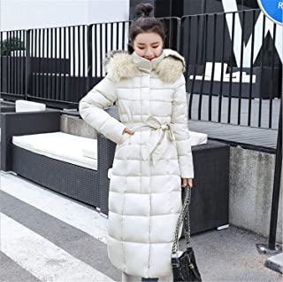 Womens Casual Fashion Winter Warm Hooded Coat Long Cotton Padded Jackets Pocket Coats White XXL